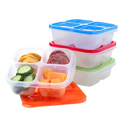 EasyLunchboxes - Bento Snack Boxes - Reusable 4-Compartment Food Containers for School, Work and Travel, Set of 4, Classic