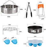Cooking Accessories Set compatible with Instant Pot 8 Quart 8 QT,with Steamer Basket, Springform Pan Egg, Trivet Egg Bites Mold, Cheat Sheet Magnets, Bowl Clip, Tong& Mitts