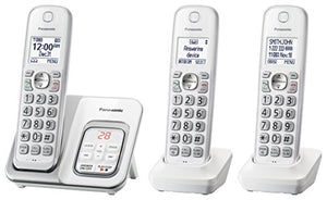 PANASONIC Expandable Cordless Phone System with Answering Machine and Call Block - 3 Cordless Handsets - KX-TGD533W (White)