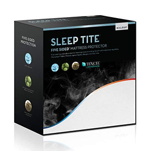 MALOUF Sleep TITE Hypoallergenic 100% Waterproof Protector-15-Year Warranty-Vinyl Free Mattress Protector, King, White