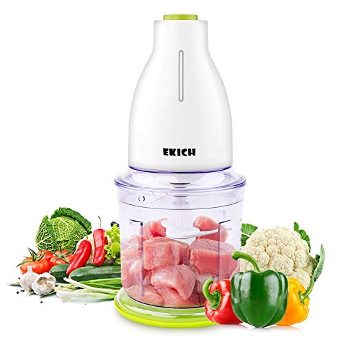 EKICH Food Chopper Electric Mini Meat Grinder with Sharp Blades and 2 Cup Capacity Vegetable Processor for Onion Nuts and Fruit (700ml 6blades, White)