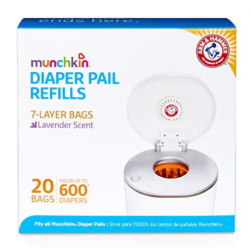 Munchkin Arm & Hammer Diaper Pail Snap, Seal and Toss Refill Bags, Holds 600 Diapers, 20 Count