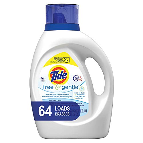Tide Free and Gentle HE Laundry Detergent Liquid, 64 Loads, Unscented and Hypoallergenic for Sensitive Skin, Free and Clear of Dyes and Perfumes (Packaging May Vary)