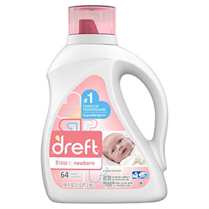 Dreft Stage 1: Newborn Hypoallergenic Liquid Baby Laundry Detergent (HE), Natural for Baby, Newborn, or Infant, 100 Ounces (64 loads)