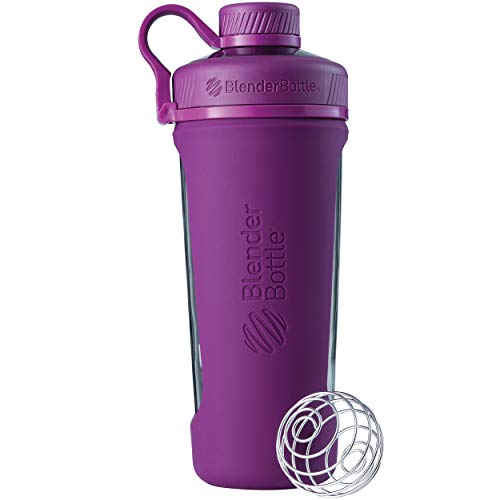 BlenderBottle Radian Glass Shaker Bottle, Plum, 28-Ounce