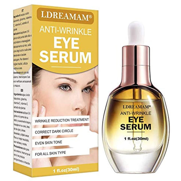 Eye Serum,Anti Wrinkle Eye Serum,Anti Ageing Eye Serum,Hydrating Eye Serum,Under Eye Cream,For Dark Circles, Puffiness - Reduces Wrinkles, Bags, Saggy Skin & Puffy Eyes Great Eye Treatment