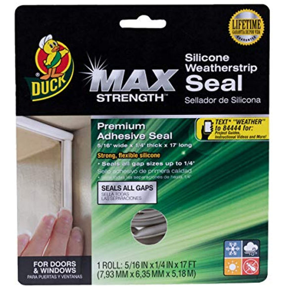 Duck Brand MAX Strength Silicone Weatherstrip Seal, 1-Roll, .3125-Inch x .25-Inch x 17 Feet Long, 281209