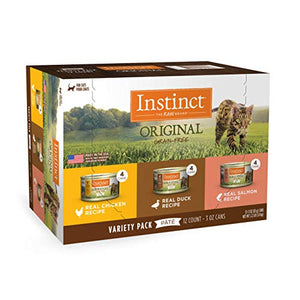 Instinct Original Grain Free Recipe Variety Pack Natural Wet Canned Cat Food by Nature's Variety, 3 oz. Cans (Pack of 12) - Exp. 6/22