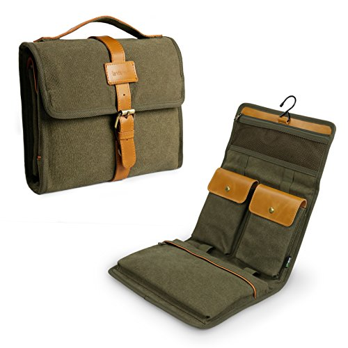 Lavievert Travel Men's Toiletry Roll/Folding Portable Canvas & Genuine Leather Toiletry Bag/Storage Bag with Hook for Travel/Vacation/Household Use - Green