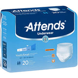 Attends Youth/Small Underwear Heavy Absorbency Bag of 20 by Attends