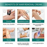 Premium Hair Removal Cream Painless Flawless Depilatory Cream for Sensitive Skin, Underarm, Leg and Bikini Body, Bikini Cream Hair Removal Skin Friendly Aloe Hair Remover Body Cream for Women and Men