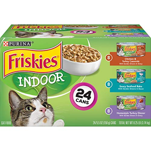 Purina Friskies Indoor Wet Cat Food Variety Pack, Indoor - (24) 5.5 oz. Cans