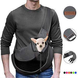 YUDODO Reflective Pet Dog Sling Carrier Breathable Mesh Travel Safe Sling Bag Carrier for Dogs Cats (M up to 10lbs Black) - New Without Packing
