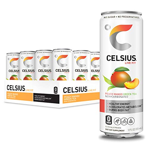 CELSIUS Peach Mango Green Tea Non-Carbonated Fitness Drink, ZERO Sugar, 12oz. Slim Can, 12 Pack - Exp. 10/20