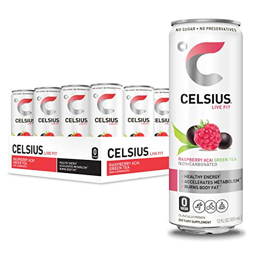 CELSIUS Raspberry Acai Green Tea Non-Carbonated Fitness Drink, ZERO Sugar, 12oz. Slim Can, 12 Pack - Exp. 7/21