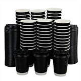 Saedy 12 Oz Disposable Hot Coffee Paper Cups with Lids, 100 Packs
