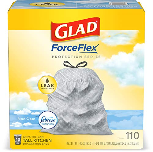 Glad ForceFlex Tall Kitchen Drawstring Trash Bags – 13 Gallon Trash Bag, Fresh Clean scent with Febreze Freshness – 110 Count (Package May Vary) Opened Box