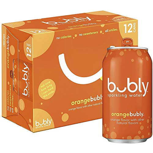 Bubly Sparkling Water, Orange, 12 oz, 12 ct