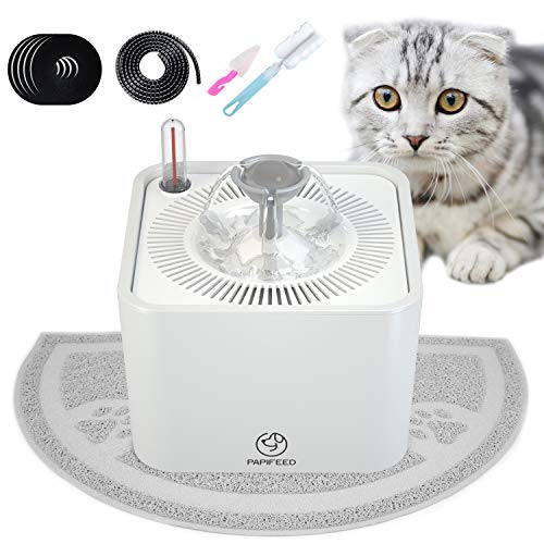 PAPIFEED Cat Water Fountain, Automatic Pet Water Dispenser, 2.2L Super Quiet Healthy Drinking Bowl with Visible Water Level, 5 Filters, USB Pump, Waterproof Mat and Brush for Cats Dogs [Upgraded 2019]
