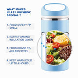 Lille Home Stackable Stainless Steel Thermal Compartment Lunch Box | 3-Tier Insulated Bento Box/Food Container with Insulated Lunch Bag & Foldable Stainless Steel Spoon (light blue)