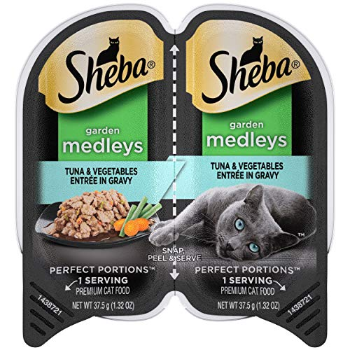 SHEBA Perfect Portions Garden Medleys Adult Soft Wet Cat Food Tuna & Vegetables Entrée in Gravy, 2.6 oz. Twin-Pack Tray