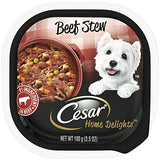 CESAR HOME DELIGHTS Soft Wet Dog Food Beef Stew, 3.5 oz. Easy Peel Tray