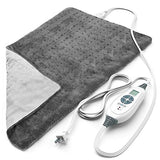 "Pure Enrichment PureRelief XL (12""x24"") Electric Heating Pad for Back Pain and Cramps - Ultra-Soft with 6 Temperature Settings, Auto Shut-Off, and Moist Heat (Charcoal Gray)"