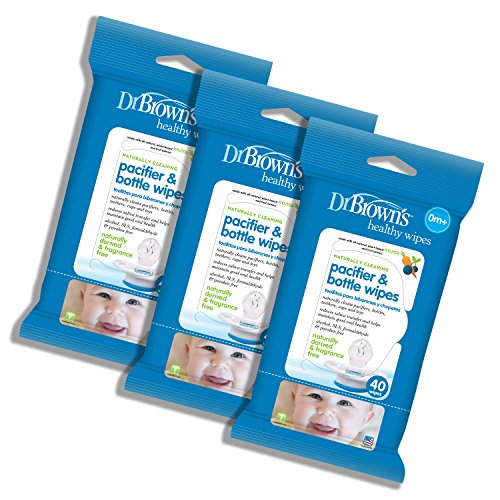 Dr. Brown's Pacifier and Bottle Wipes, 40 Count, 3-Piece