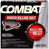 Combat Roach Killing Bait, Large Roach Bait Station, Kills the Nest, Child-Resistant, 8 Count