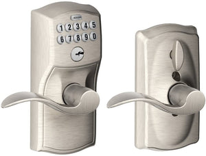 Schlage FE595VCAM619ACC Camelot Keypad  Entry with Flex-Lock and Accent Levers,  Satin Nickel - all pieces used