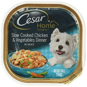 Cesar Home Delight Wet Dog Food, Chicken and Vegetables, 3.5 Oz Tray
