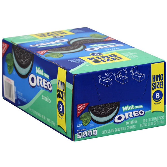 Oreo Smile Mint Creme Cookies King Size 10 packs of 8 cookies - Past Rotation Date - Guaranteed Freshness