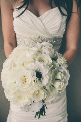 Bridal Bouquet-Roses, Hydrangeas, Anenomes.