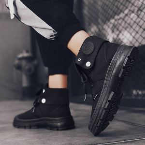 Men's Fashion Solid Color High-Top Canvas Sneakers