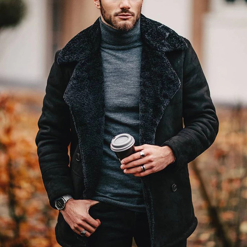 Men's plush solid color lapel short coat