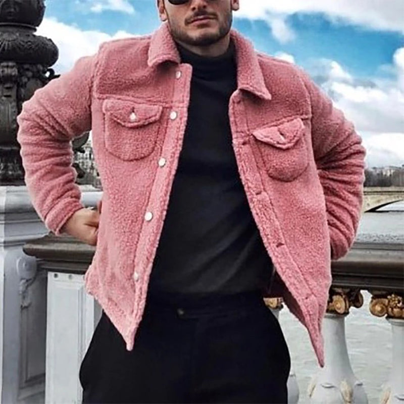 Men's Solid Color Lapel Plush Jacket
