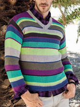 Load image into Gallery viewer, Fashion V Neck Striped Sweater