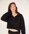 Bronte Quarter Crop Zip Sweatshirt Black - TWO SPARROW AUSTRALIA - Sustainable Swimwear Australia - Sweatshirt -
