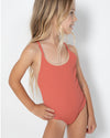 Girls Layla One-Piece - Coral Rib