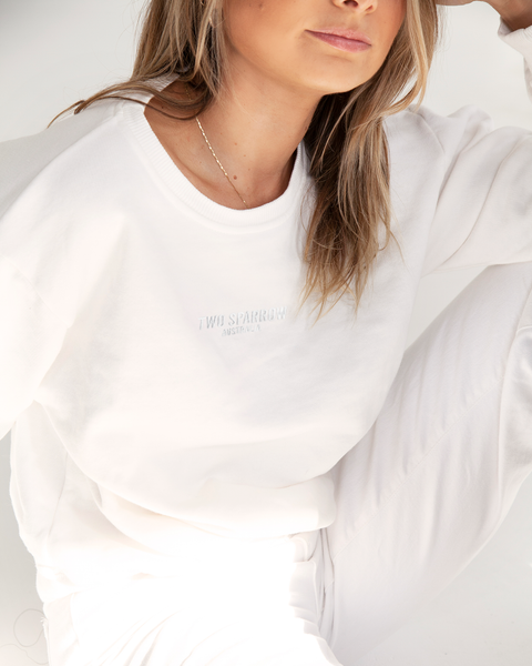 Johanna Crew Neck Sweatshirt Regular Fit Signature White - TWO SPARROW AUSTRALIA - Sustainable Swimwear Australia - Sweatshirt -