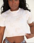Cabarita Crop Tee Beige Tie-Dye - TWO SPARROW AUSTRALIA - Sustainable Swimwear Australia - Tee -