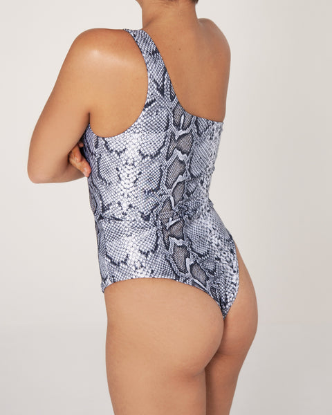 Broome One Shoulder One Piece - Snake - TWO SPARROW AUSTRALIA - Ethical Organic Natural Materials Sustainable Australia - One piece -