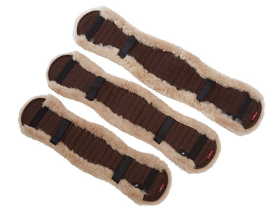 LeMieux Lambskin Dressage Girth Covers Topo/Marrón