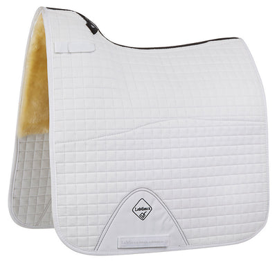 LeMieux Lambskin Half Lined Light Wool Dressage Square Natural/Blanco