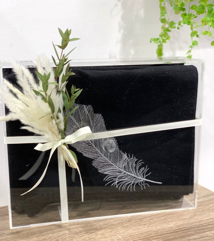 a gift -black with white embroidery