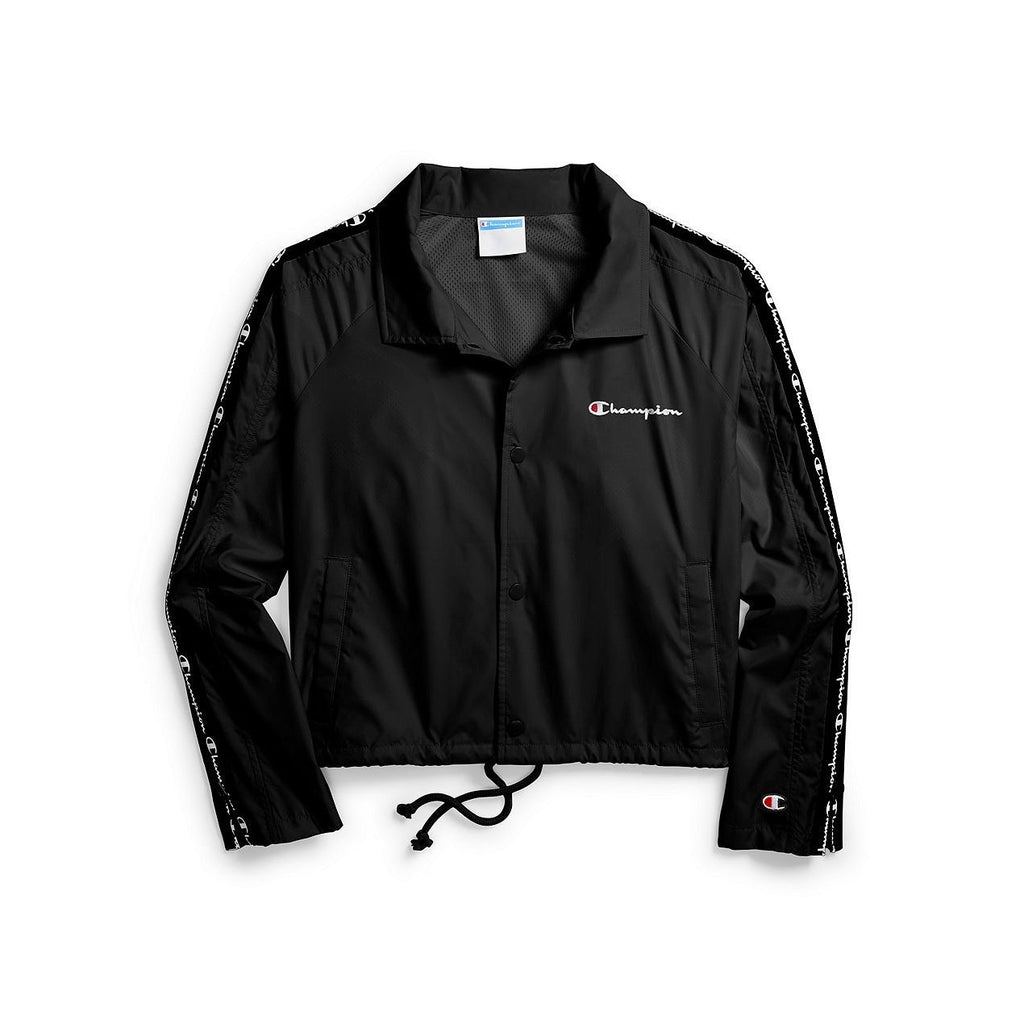Black Cropped Coaches Jacket