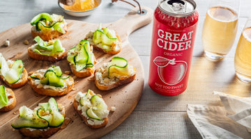 Ricotta and Zucchini Crostini with Not Too Sweet Organic Cider