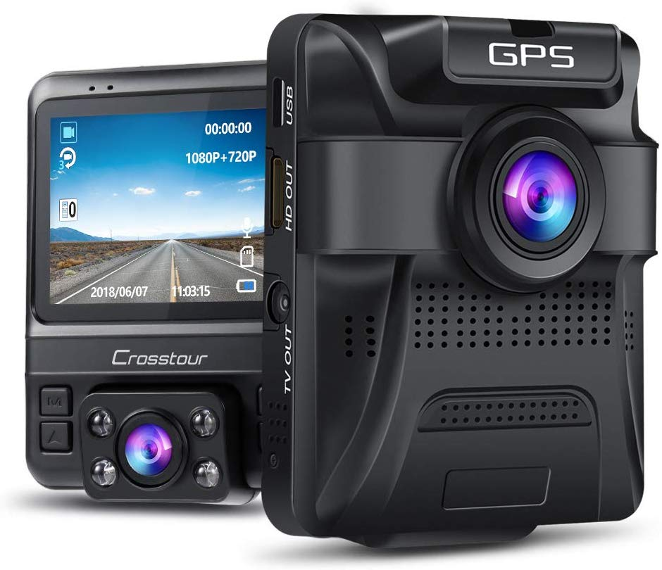 IR Dual Lens Dash Cam with Built-In GPS (with Parking Monitoring)