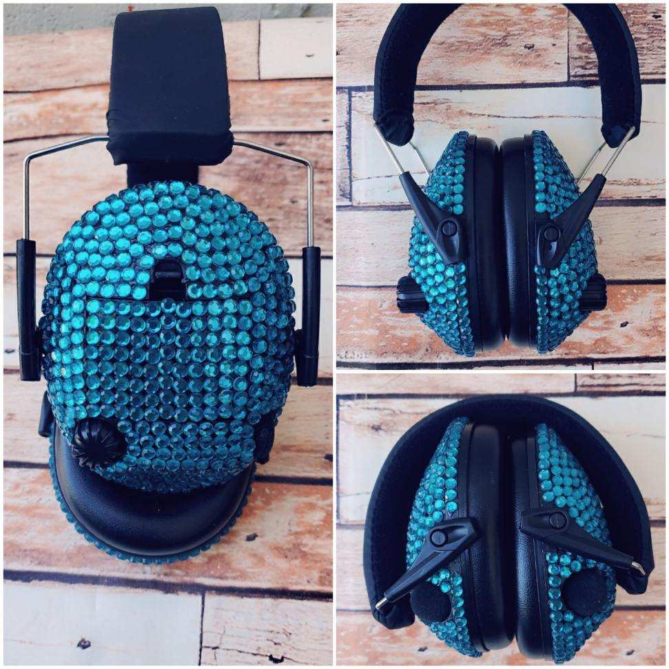 Turquoise Sparkle Electronic Shooting Ear Muffs