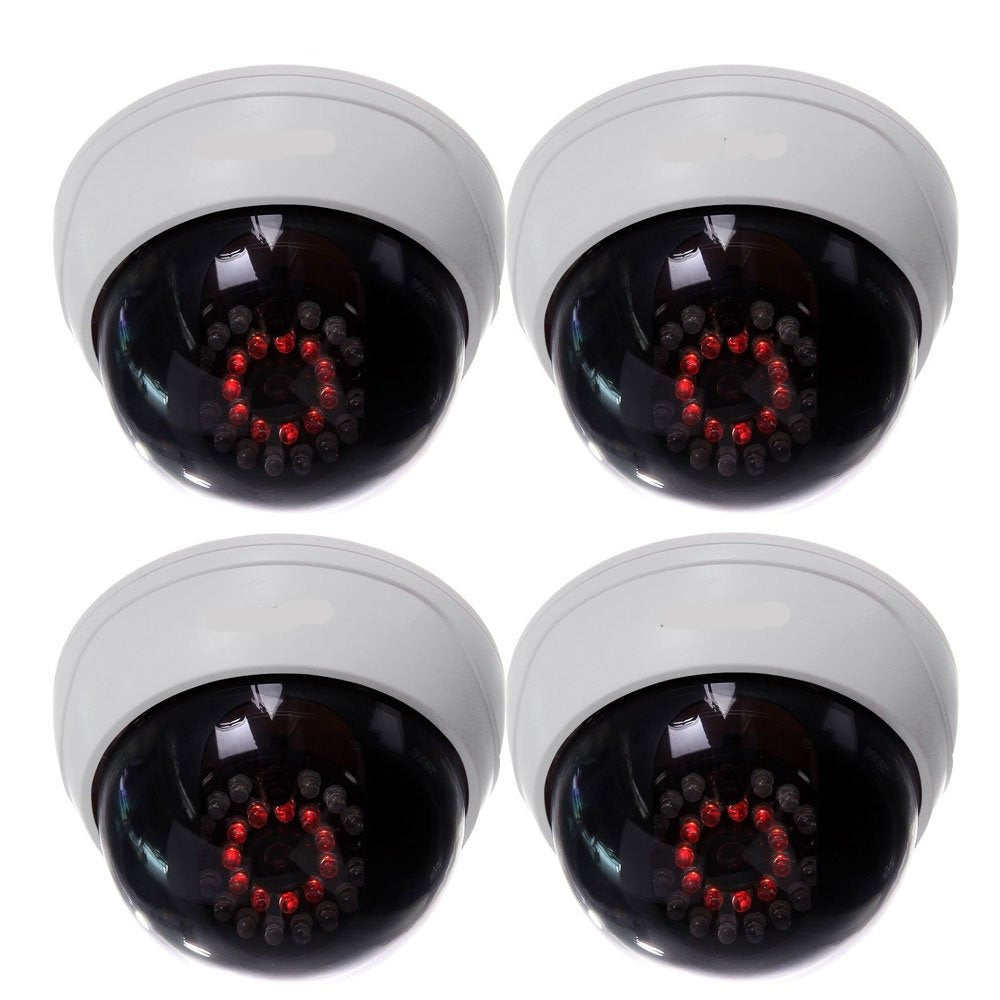 CCTV Dome Dummy Cameras w/ IR LED Lights - 4 Pack (Indoor)
